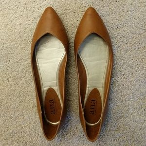 a.n.a. Brown Leather Flats